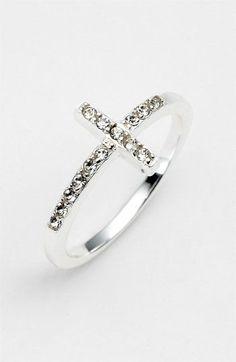 Silver & diamond cross ring