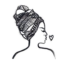 🌙⭐️🌙⭐️🌙⭐️🌙⭐️ - - - - #illustration #art #sketchbook #africa #woman #headscarf #ink #painting #drawing #artshare #pattern #character #portrait