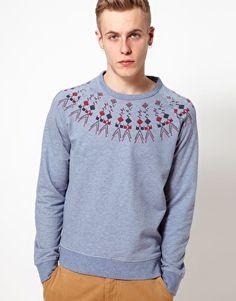 YMC Sweatshirt With Fairisle Pattern on Asos