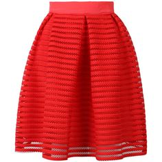 Choies Red Sheer Stripe Knee Length Skater Skirt (€26) ❤ liked on Polyvore featuring skirts, bottoms, red, striped skirt, flared skirt, red skater skirt, striped skater skirt and skater skirt