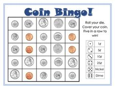 Coin Bingo *Free*Simple game for early finisher work or math rotations. Hopefully a way to help struggling students do better with coin names and values. Print in color, mount on card-stock then laminate. Money Activities, Math Resources, Classroom Resources, Math Rotations, Math Centers, Math Card Games, Money Math Games, Money Games For Kids, Money Bingo