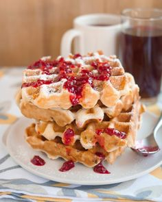 Recipe: Monte Cristo Waffles with Warm Raspberry Sauce — Recipes from The Kitchn | The Kitchn