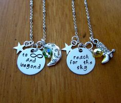 "Disney's Toy Story Inspired Friendship necklaces. Buzz Lightyear and Sheriff Woody. ""To infinity and beyond"" & ""Reach for the sky!"" by WithLoveFromOC on Etsy"