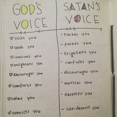 God's voice vs Satan's voice  John 10:10 The thief comes only to steal and kill and destroy; I have come that they may have life, and have it to the full.