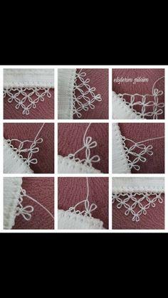 Igne oyasi düğüm leri Needle Tatting Patterns, Crochet Stitches, Ribbon Embroidery, Embroidery Stitches, Embroidery Designs, Needle Lace, Bobbin Lace, Crochet Unique, Frozen Crochet