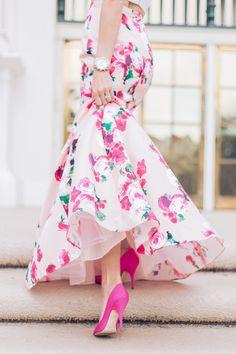 Floral two piece gown - Mckenna Bleu Spring Fashion, Girl Fashion, Fashion Dresses, Mckenna Bleu, Moda Floral, Mode Rose, Floral Two Piece, Two Piece Gown, Little Presents