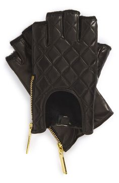 Adoring the shiny gold tone zip on these fingerless quilted driving gloves.