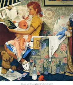 Babysitter, 1947 by Norman Rockwell. Regionalism. genre painting
