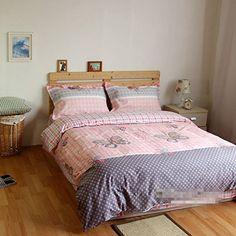 LELVA Pink Plaid Bedding Set Butterfly Duvet Cover Set Kids Bedding for Girls Polka Dot Bedding Twin Full Queen Full Fitted Sheet * Want to know more, click on the image.