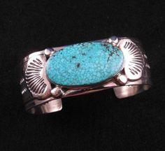 Old-Style Navajo Orville Tsinnie Kingman Turquoise Silver Bracelet