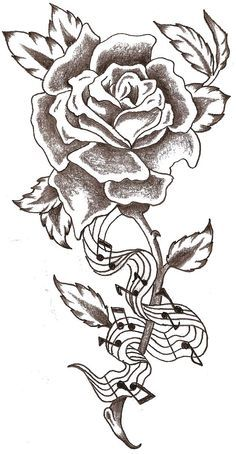Flower tattoo with music notes down the stem