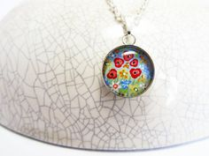 Rainbow Wildflowers Pendant Mini Pendant Hand by turquoiseeye