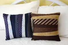 Pillows made from neck ties. Great idea to use as a memory pillow made from a deceased loved one.