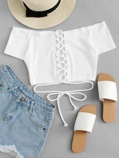 Best fashion outfits for teens summer crop tops Ideas Crop Top Outfits, Cute Casual Outfits, Cute Summer Outfits, Dress Outfits, Casual Summer, Dress Casual, Shorts Outfits For Teens, 1940s Outfits, Matching Outfits