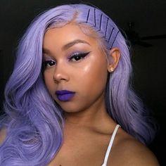 Carina Customized Dark/Light Purple Bob Wigs Pre Plucked Human Hair Full Lace Wigs with Baby Hair Lace Front Wigs, Lace Wigs, Curly Hair Styles, Natural Hair Styles, Hair Laid, Purple Hair, Pastel Lavender Hair, Peach Hair, Looks Style