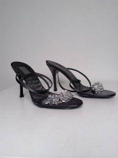 Gucci Grey Sandals with Swarovski Crystals Size 9