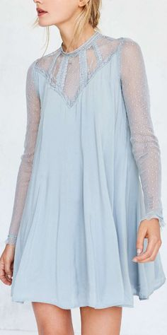 embroidered mesh frock dress