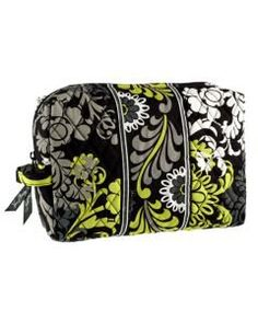 Vera Bradley Floral Large Cosmetic Bag- Black, Grey, White, and Lime Green
