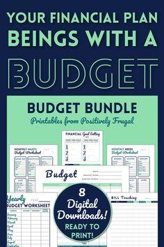 Budget Bundle Kit for Printable Budget Binder Finance   Etsy Monthly Budget Worksheet, Printable Budget, Budgeting Worksheets, Budget Template, Printables, Budget Forms, Goal Setting Worksheet, Budget Binder, Best Money Saving Tips