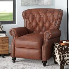 Purchase Online Lenihan Leather Manual Recliner By Laurel Foundry Modern Farmhouse Small Recliners, Living Room Furniture, Living Room Decor, Leather Recliner, Leather Chairs, Reclining Sofa, Living Room Designs, Modern Farmhouse, Upholstery