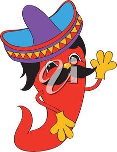 iCLIPART - Cartoon Clip Art Image of a Mexican Hot Pepper Wearing a Sombrero