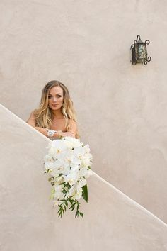 California Vineyard Wedding in Paso Robles White Orchid Bouquet, White Orchids, Cascade Bouquet, Cascading Bouquets, Bridal Salon, Bride Look, Island Weddings, Vineyard Wedding, Brides And Bridesmaids