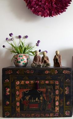 Asian chest  and ceramic figures