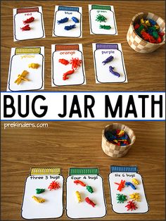 Free printable bug jar math mats for sorting and counting practice. Preschool and Kindergarten kids practice math concepts while playing with colorful bugs.