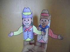 Cowboy and cowgirl toilet paper tube puppets from Making Learning Fun. Cowboy Crafts, Texas Crafts, Western Crafts, Cowboy Theme, Western Theme, Cowboy And Cowgirl, Kids Learning Activities, Fun Learning, Boy Printable