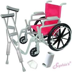 "New Wheelchair & Crutches & Bandage Casts for 18"" Dolls Like American Girl  #Unbranded"