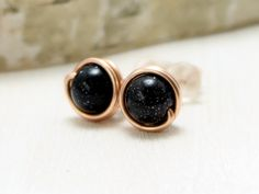 Hey, I found this really awesome Etsy listing at https://www.etsy.com/listing/153319070/blue-goldstone-earrings-14k-rose-gold