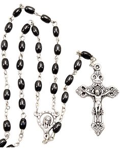 Extra strong black wooden oval rosary beads in gift box mens Miraculous center