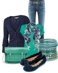 Mint and navy