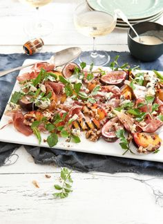 Peach and roasted fig salad with prosciutto, blue cheese and walnuts