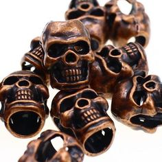 5pcs M Metal Bronze Skull Bead Paracord Lanyards Bracelets Crafts Leather DIY