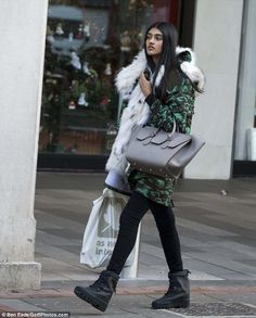 Fill your boots! Neelam gave the look a designer feel by sporting the Yeezy 950 Duck Boot - one of the most recent releases from Kanye West's shoe collections - no doubt a gift after she was hand selected to appear in his first campaign for his Yeezy clothing line