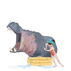 Diane cleaning her hippo!