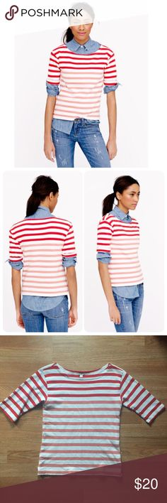 J.Crew lightweight terry striped top sz XS. Cute! J.Crew lightweight terry tee in strip. Size: XS. Length: 23 inches. Chest: 16 inches. Elbow sleeves. Slight Boatneck. White top with red & pink stripes. Cute top worn alone or layered. Great preowned condition. (Photos via jcrew.com and the fashion blog sequinsandstilettos.com ) J. Crew Tops Tees - Short Sleeve