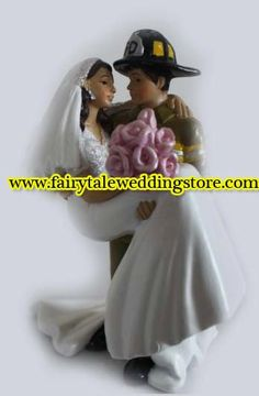 Firefighter Fire Fighter Fireman & His Bride Wife Wedding Cake Topper Rescue 911 Burning Love on Etsy, $54.99
