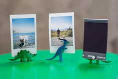 DIY Photo Stands: Cut dinos in half and glue magnets on each cut side. Or no cutting - just glue magnet on one side of dino. (place pic between glued magnet and a second magnet for the back of pic).