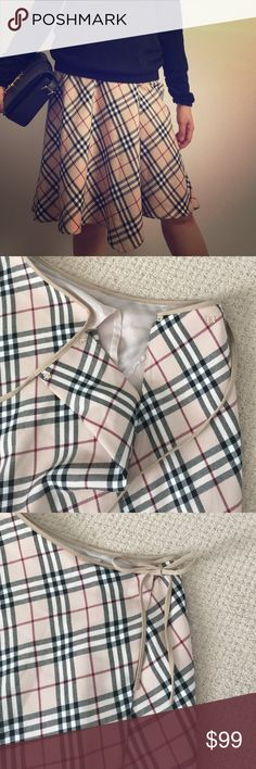 Burberry London A-line plaid skirt Burberry London blue label A-line plaid skirt. EU size 36/ US size 2/small. Excellent condition like new. 2 adjustable bottoms and ribbon tie on waist. Super cute! Burberry Skirts A-Line or Full