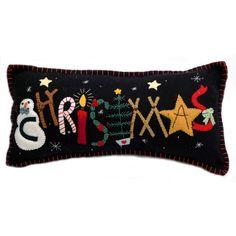 """""""Christmas"""" Pillow - Wool Felt Applique"""