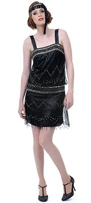 Black Dropped Waist 1920s Flapper Style Dress