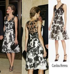 "Queen Letizia wearing Carolina Herrera dress to attend the ""Mariano de Cavia"" Awards dinner in Madrid. Reina Letizia en un elegante vestido de Carolina Herrera para la ceremonia."
