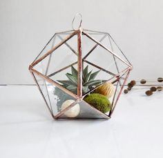 This lovely terrarium is made by hand from clear glass. Two of the facets are open for access and air flow. This stained glass terrarium functions