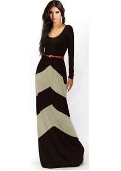 Women's sexy U neck long sleeve color matching strip printing slim fit maxi dresses