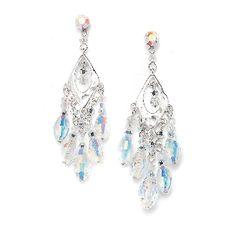 Chandelier Earrings with Oval Swarovski Crystals www.EverythingButTheWeddingDress.com