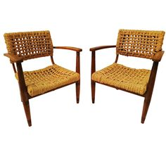 Pair of Rope Chair by Audoux-Minet for Vibo, 1950s | From a unique collection of antique and modern armchairs at https://www.1stdibs.com/furniture/seating/armchairs/