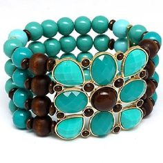 Jade color bracelet with wooden bead accents with a touch of gold