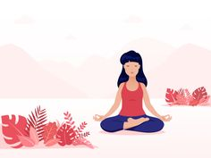 Meditation illustration red and blue red landscape meditation peace of mind woman calm mountains vector art character Yoga Illustration, Autumn Illustration, Flat Design Illustration, People Illustration, Digital Illustration, Meditation Art, Yoga Art, Yoga Drawing, Creative Typography